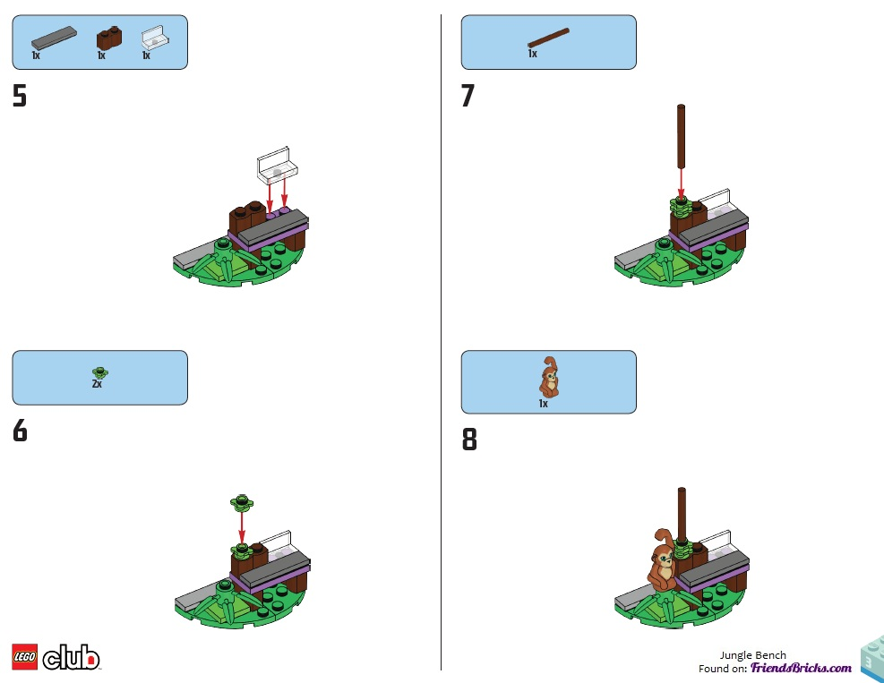 LEGO Friends Jungle Bench Building instructions