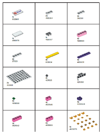 LEGO Friends Jewelry Box parts list